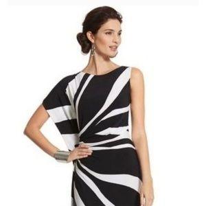 Chico's Black Label Maxi Dress Black & White 2 L